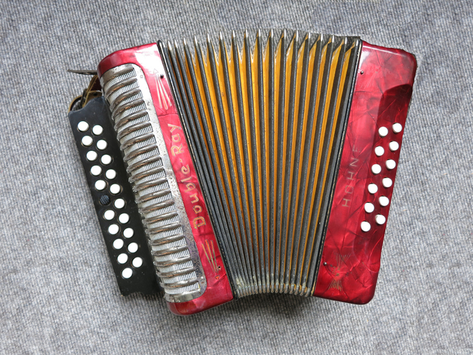 Two row black dot Hohner 'double ray' accordion / ITMA photographer