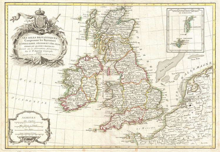 Map of the British Isles with harp illustration / Zannoni