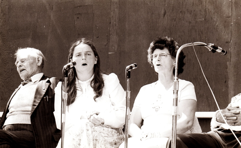 John Joe English, Anita Best, and Elsie Best on stage at the Newfoundland Folk Festival / Len Penton, photographer