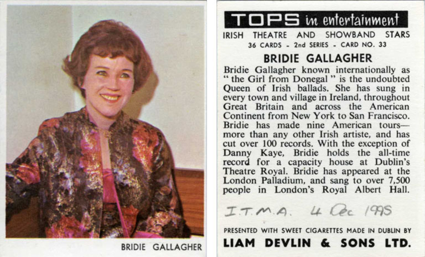 Bridie Gallagher, singer, 1967 / unidentified photographer