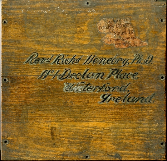 Wooden box addressed to Richard Henebry