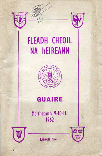Cover of programme for Fleadh Cheoil, Gorey, 1962
