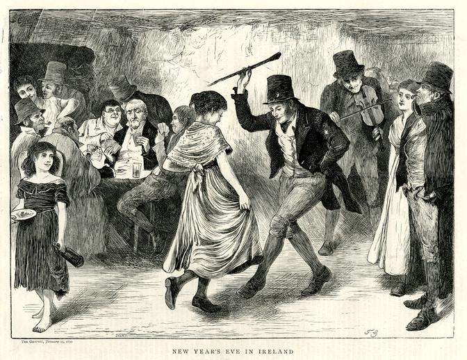 New year's eve in Ireland, 1870 / [unidentified artist]