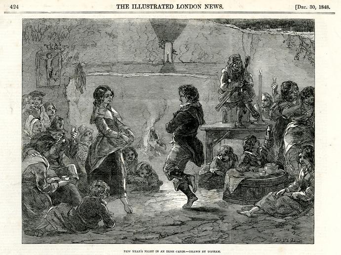 New Year's night in an Irish cabin, 1848 / Topham ; Dalziel
