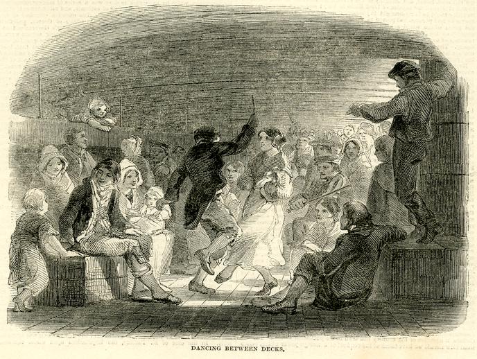Dancing between decks, 1850 / [unidentified artist]