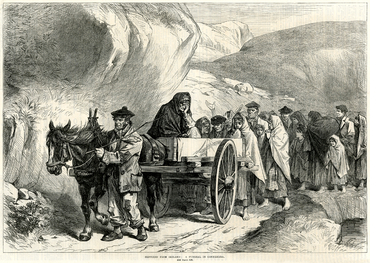 Sketches from Ireland: a funeral in Connemara, 1870 / [unidentified artist]