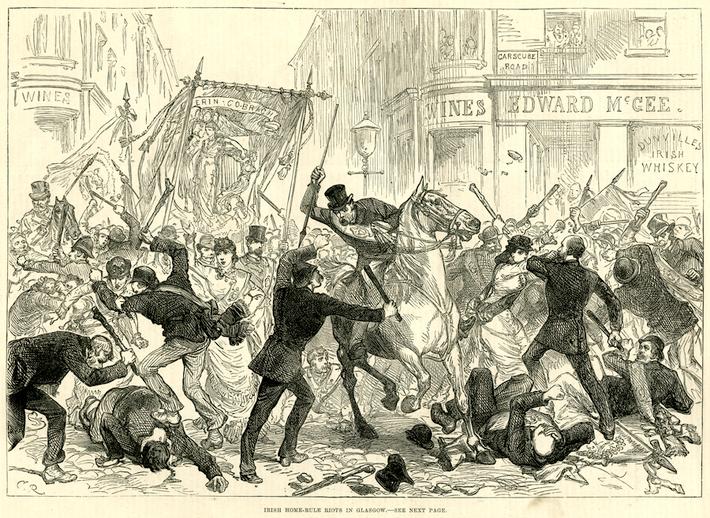 Irish Home Rule riots in Glasgow,1880 / M. R.