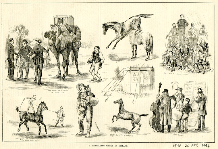 A travelling circus in Ireland, 1884 / [unidentified artist]