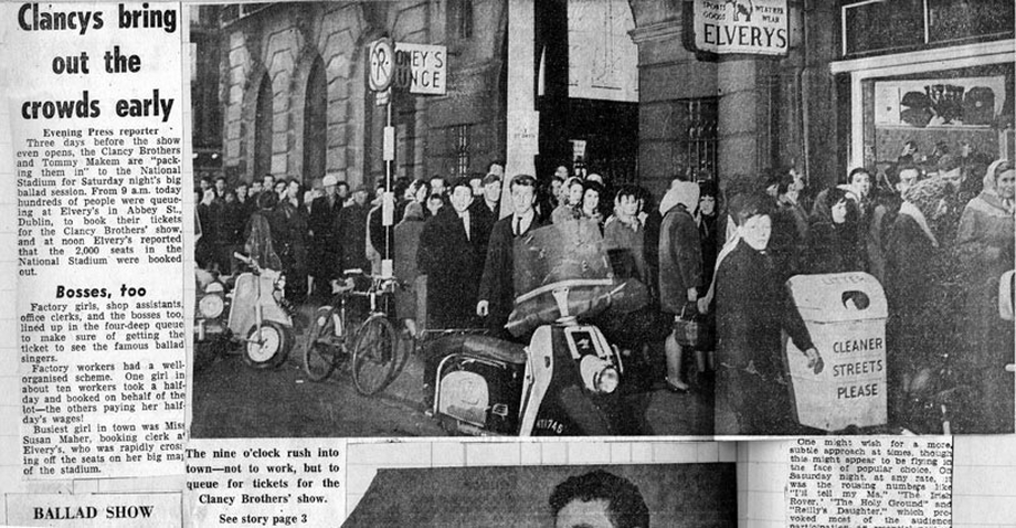 Ticket queue for The Clancy Brothers concert, Dublin, 1964 / Evening Press photographer