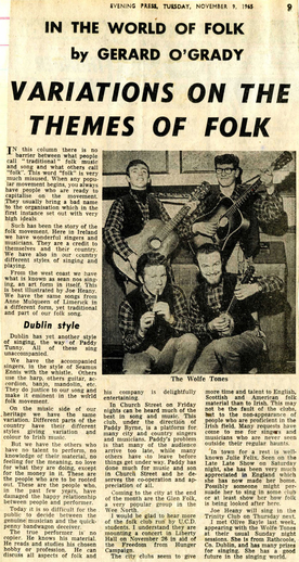 The Wolfe Tones, group, 1965 / Evening Press photographer