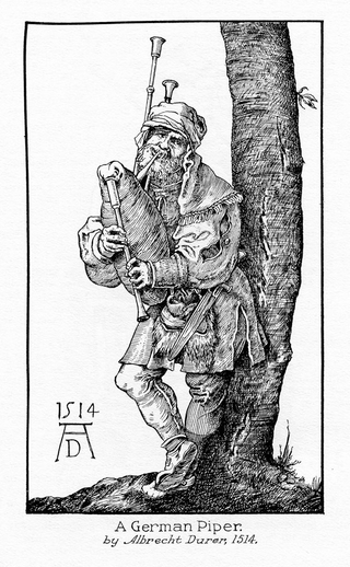 A German piper, pipes, 1514 / Albrecht Durer