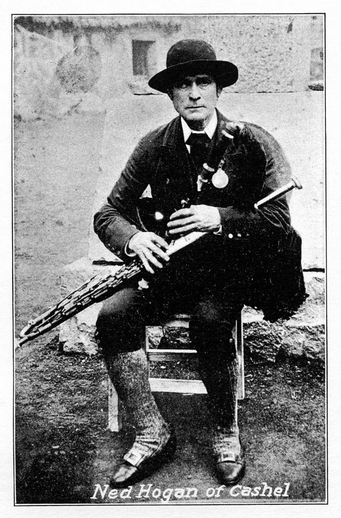 Ned Hogan of Cashel, uilleann pipes / unidentified photographer