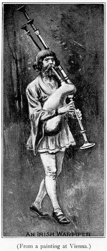 Irish warpiper, pipes / unidentified artist