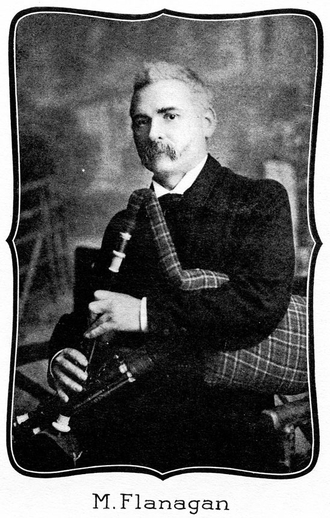 M. Flanagan, uilleann pipes / unidentified photographer