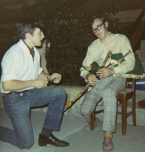 Johnny Phelan, spoons & unidentified piper / [unidentified photographer]
