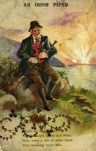An Irish piper / unidentified artist
