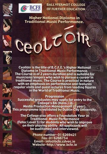 Ceoltóir, course promotional poster