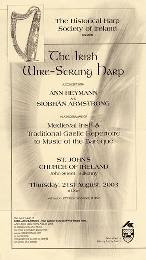 The Irish wire-strung harp, 2003, event poster
