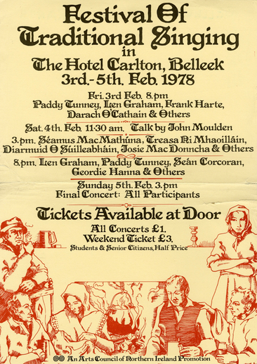 Festival of traditional singing in the Hotel Carlton, Belleek, 1978, event poster