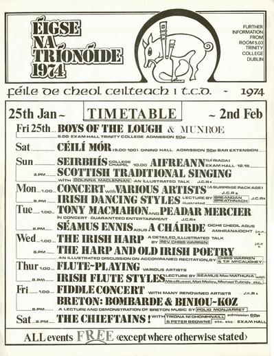 Éigse na Tríonóide, 1974, event poster