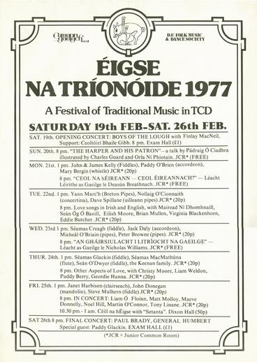 Éigse na Tríonóide, 1977, event poster