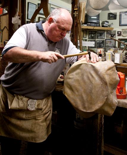 Bodhran maker Malachy Kearns at work / Stephen Power
