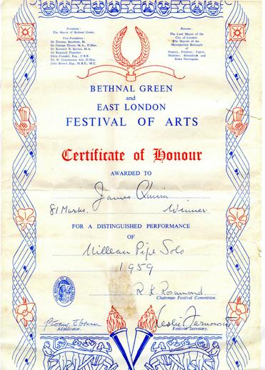 James Quinn, uilleann pipes, Certificate of Honour, 1959