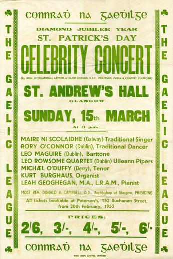 St Patrick's Day celebrity concert, 1953, event poster