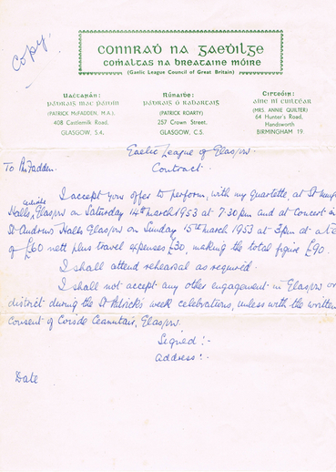 Leo Rowsome contract, 1953
