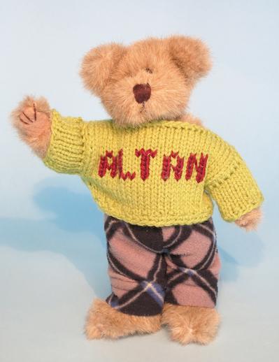 Teddy bear wearing Altan jumper / ITMA photographer