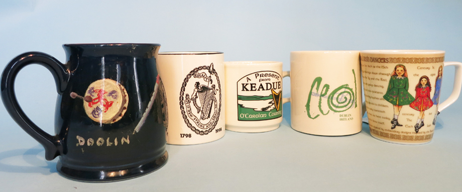 Five mugs featuring items of traditional interest / ITMA photographer