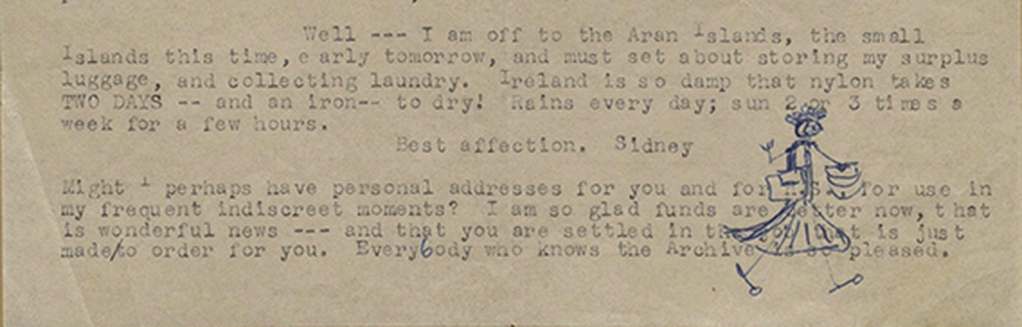 """Extract from a letter from Sidney to Rae Korson, dated """"Til August 20. [1956],"""" AFC 1959/004, American Folklife Center, Library of Congress / Sidney Robertson Cowell"""