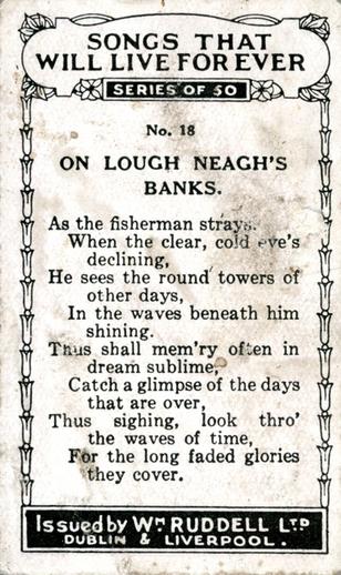 On Lough Neagh's banks, cigarette card [verso] / Wm. Ruddell Ltd.