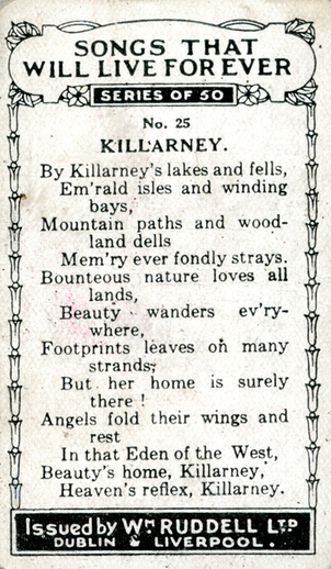 Killarney, cigarette card [verso] / Wm. Ruddell Ltd.