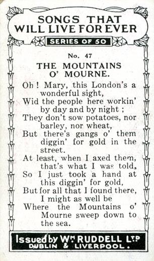 The mountains o' Mourne, cigarette card [verso] / Wm. Ruddell Ltd.