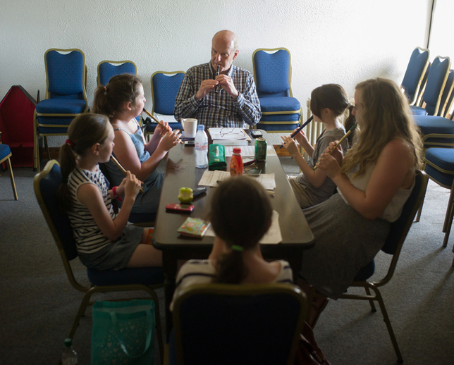 Peter Phelan with his whistle students / Tony Kearns