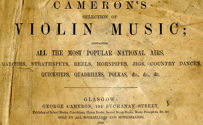 Cameron's selection of violin music, 1859, cover