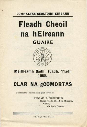 Clár na gComórtas - Fleadh Cheoil, Gorey, Co. Wexford, 1962, cover