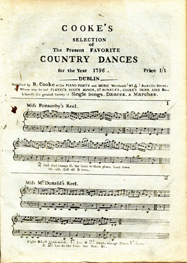 Cooke's selection of the present favorite country dances for the year 1796, cover