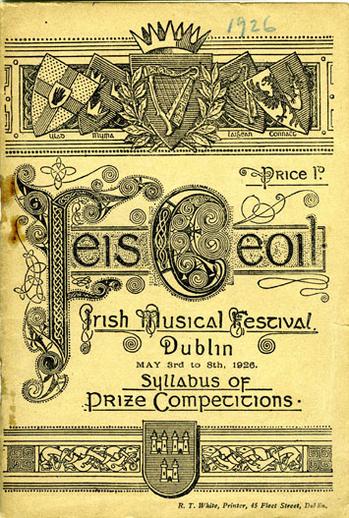 Feis Ceoil, Dublin, 1926, cover