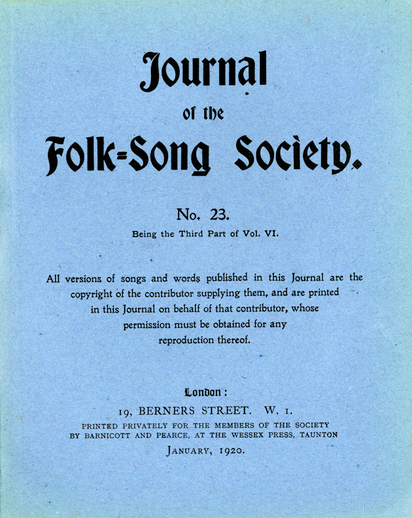 Journal of the Folk-Song Society No 23, January 1920, cover