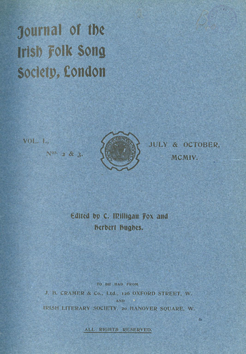 Irish and Danish folk music, Journal of the Irish Folk Song Society, cover