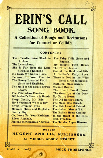 Erin's call song book, cover