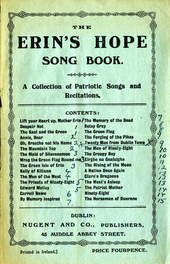 Erin's hope song book, cover
