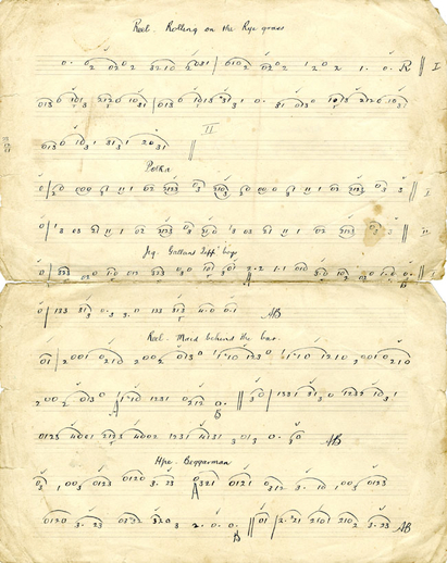 Pádraig O'Keeffe Manuscripts : miscellaneous pages.  Fiddle, handwritten manuscript