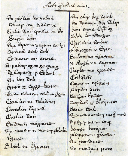List of Irish airs, manuscript, handwritten manuscript