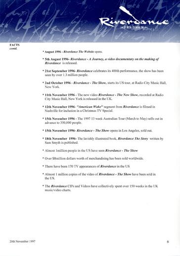 Riverdance : the show [Press release], 1997
