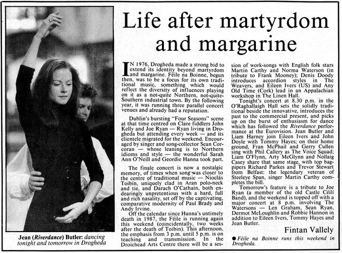 Press Reaction to Riverdance, May 1994 - October 1994