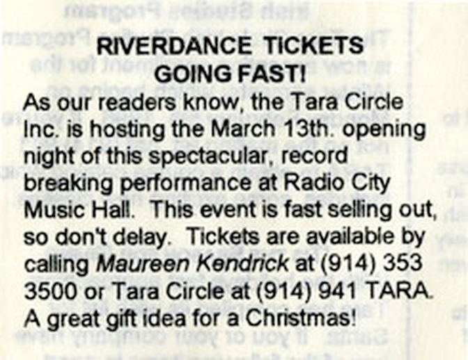Press Reaction to Riverdance, March 1995 - December 1995