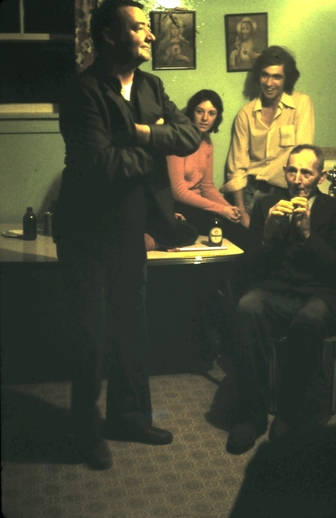 Denis Nash dances while Frankie Nash plays the whistle in Branch, Newfoundland, ca. 1976/77 / Aidan O'Hara